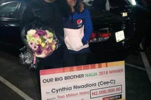 #BBNaija: Cee-C spotted with her dad at the airport; receives N2million from fans