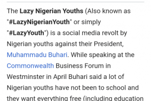 'Lazy Nigerian Youths' now has a Wikipedia page (Photos)