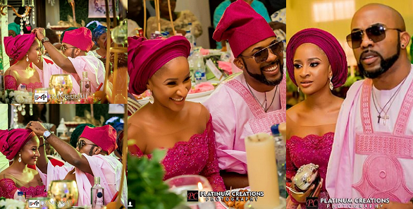 Image result for Photographer Captures Adorable Moment Banky W Adjusts His Wife, Adesua's Gele At An Event (Photos)