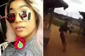 Slay Queen With UK Location Fled After Being Spotted Carrying Gallons Of Water (Video)