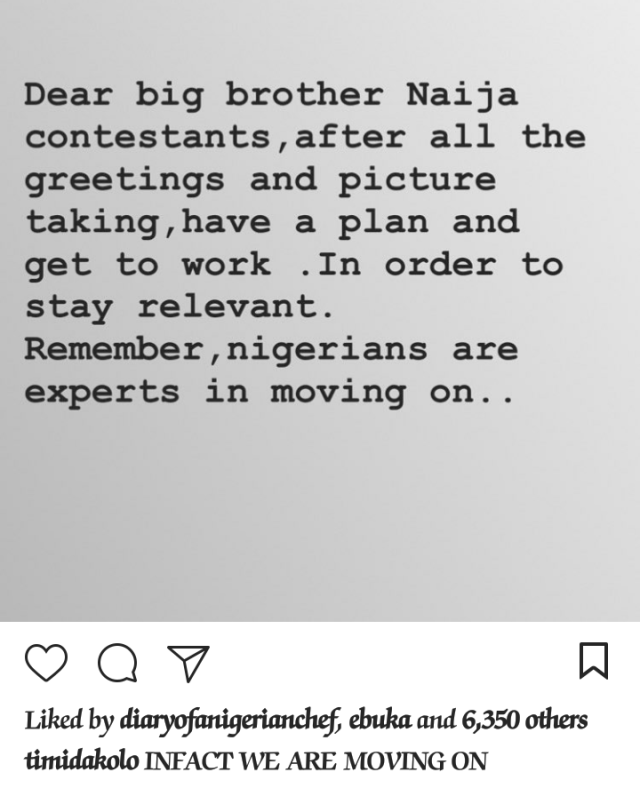 Timi Dakolo sends a strong message to all Big Brother Naija contestants
