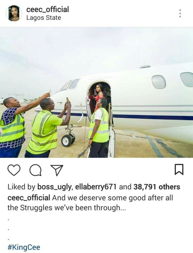 Cee-C shares more private jet photos with Davido & his