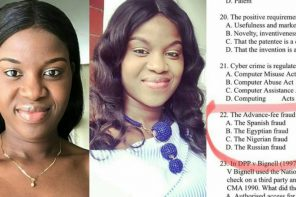 Nigerian lady schooling abroad shares her exam question about Nigerian fraud (Photos)
