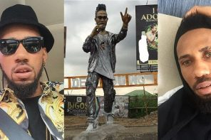 Phyno shows off statue of himself erected in Port Harcourt (Photo)