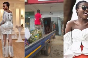 Angry boyfriend of up-coming Ghanaian actress, Fella Makafui closes down the wine shop he opened for her, for cheating (Photos)