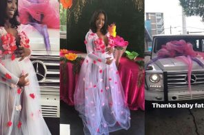Lady shares photos of the G-Wagon her baby daddy gave her on her baby shower