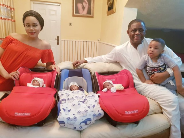 femi fani kayode flaunts his triplets as they return from hospital photo