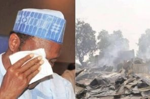 President Buhari breaks down in tears over Azare market fire in Bauchi