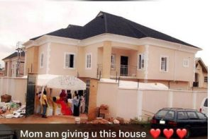 Super Eagles midfielder, Raheem Lawal shares photo of the house he just built for his mum
