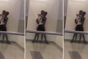 Two lovers kiss passionately at Maryland Mall in Lagos