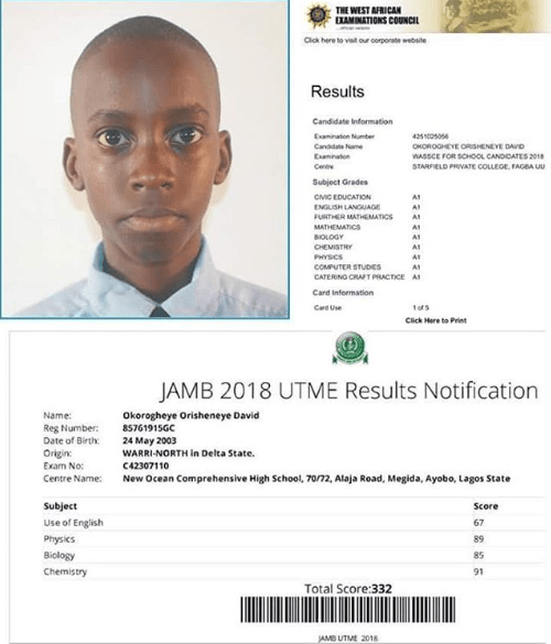 15 Yr-old David Who Obtained Straight A's in WAEC