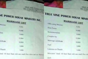 Check out marriage list a church in Warri presents to intending couples