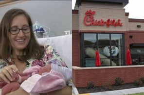 Baby delivered in restaurant toilet offered free food for life and a guaranteed job when she's 16