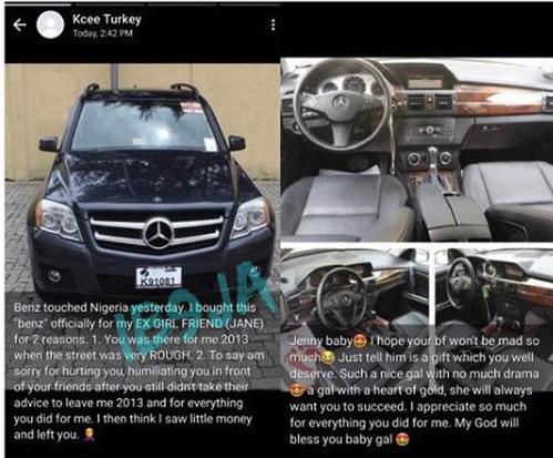 Nigerian Man Buys A Benz For His Ex-Girlfriend, Explains Why (Photos