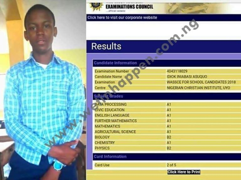 Young Boy Smashes WAEC Result As He Passes In Flying Colors (Photo