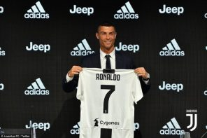 Cristiano Ronaldo unveiled as a Juventus player after sealing £100m move from Real Madrid (Photos)