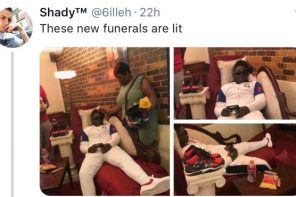 Dead man made to sit like he is playing Video game during his burial (Photos)