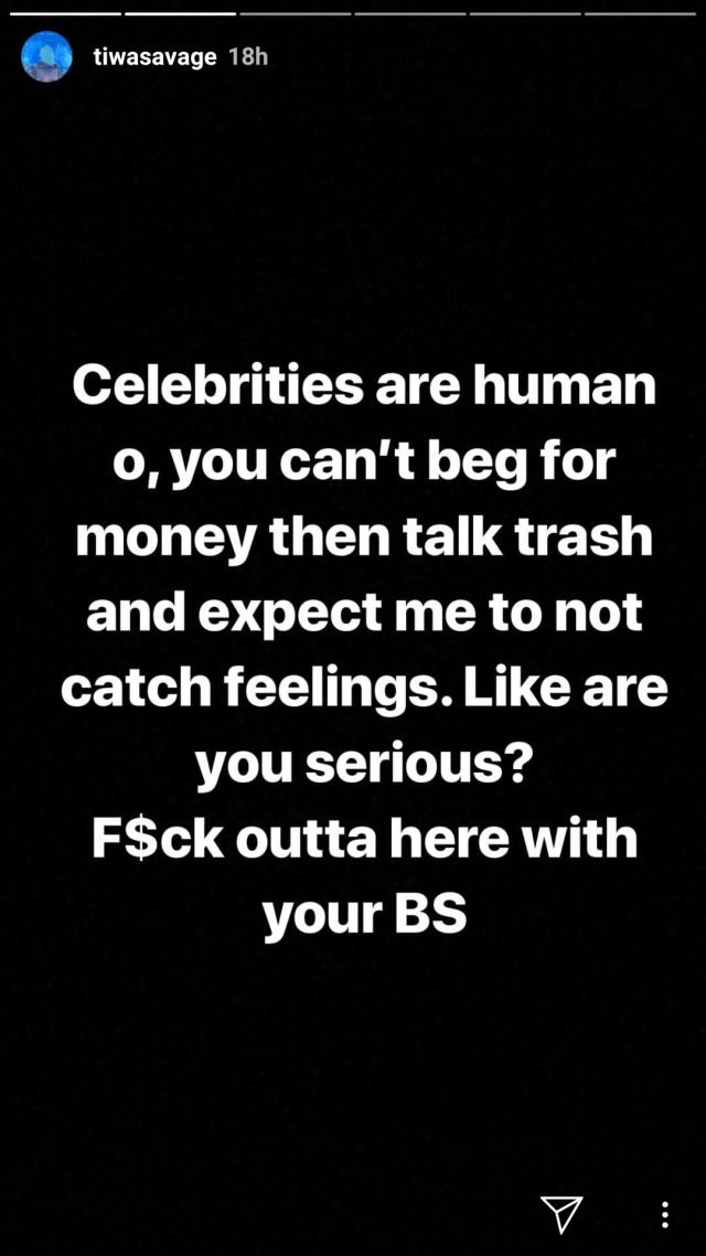 Tiwa Savage blasts Instagram beggars