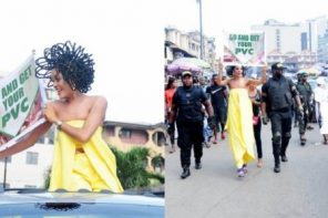 N40m hair model, Chika Lann's PVC campaign causes stir at Balogun Market (Photos&Video)