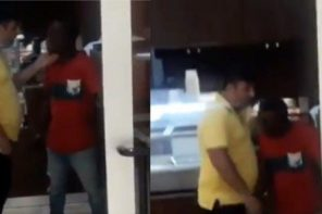 Policeman slaps man recording a Lebanese assaulting a Nigerian in Novare Mall, Lekki, Lagos (Video)