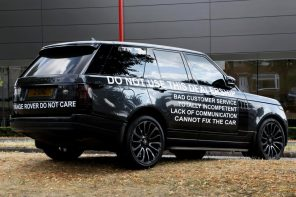 Aggrieved Man Dumps New Range Rover Outside Showroom With Complaints Written On It