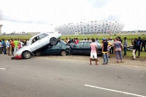 Photos Of Multiple Accident In Front Of Uyo Stadium Caused By Phone Call