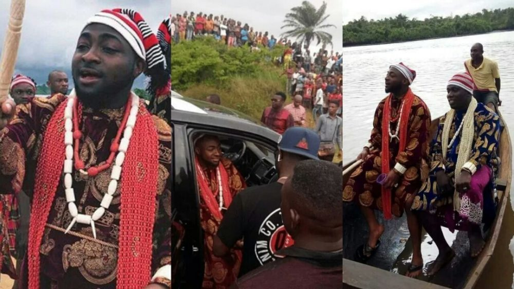 Image result for Davido mobbed by fans as he dons Igbo Attire at video shoot with Duncan Mighty (Photos + Video)