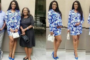 Linda Ikeji poses with her parents as they await her son's delivery in US (PHOTOS)