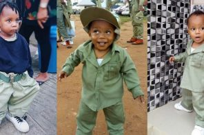 Photos of cute Nigerian babies rocking the famous NYSC khaki uniform