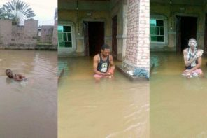 Nigerian man takes a bath & swims in massive flood that overtook his home (Photos)