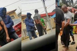 Video of a man caught stealing a man's manhood in Lagos