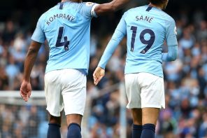 Mancity 5 Burnley 0: Manchester City's Winger, Leroy Sane, Lash At Team Mate, Vincent Kompany, For Touching His Hair After Scoring