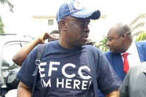 Fayose rocks branded t-shirt as he arrives EFCC office