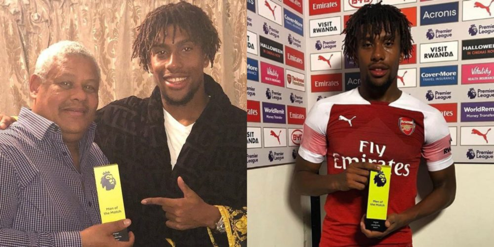 Alex Iwobi hands his dad a surprise gift after winning Man of the Match award against Leicester (Video)