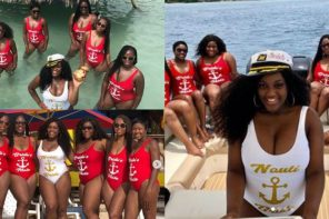 Beautiful bride with her six bridesmaids 'Slay' in stunning sultry swimsuits (Photos)