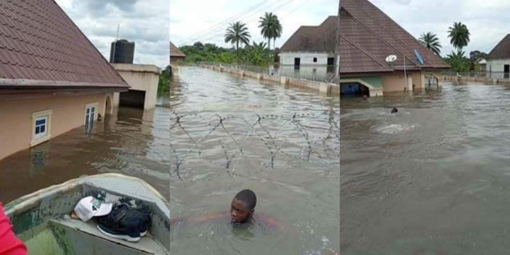 Delta residents swim to their houses as heavy flood wrecks community (Photos)