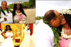 Lady who dramatically changed her skin color through tanning injections gets married in Hawaii (Photos)
