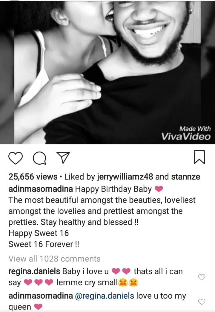 Regina Daniels' boyfriend, Somadina shares a romantic video