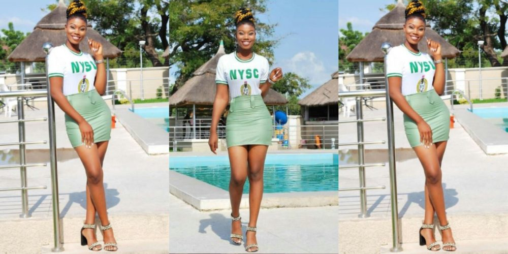 Image result for Beautiful Female Corps Member converts her NYSC Khaki to mini-skirt outfit