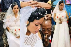 Viral photos of bride & groom wearing a sad look on their wedding day