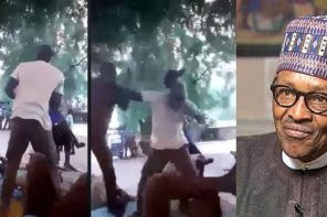 Two men exchange heavy blows while arguing over President Buhari (Video)