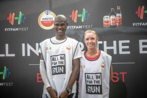 Augustine Azuwuike and Annelaure Leon  300x200 - FitFam Fest 2018: Amstel Malta promotes Fun And Excitement For Fitness Lovers In Lagos