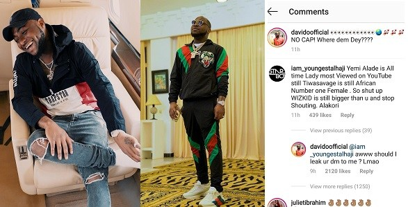 """Image result for Davido replies Nigerian Guy who said """"Yemi Alade and Wizkid are bigger than him""""."""