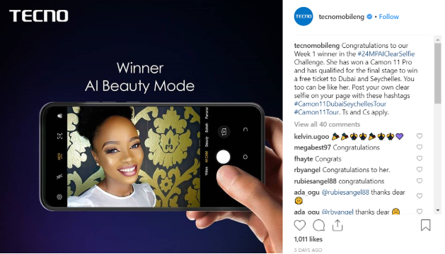 Screenshot 3 - Win a Tour Ticket & Camon 11 Pro in the #24MPAIClearSelfie Challenge