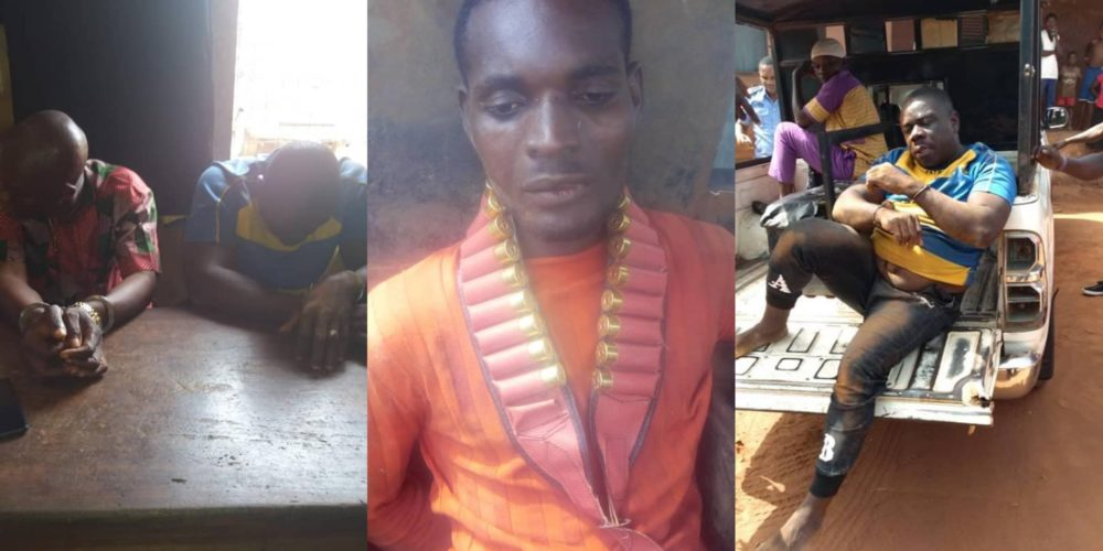 Deadly criminals who killed villagers over land arrested in Edo state (Photos)