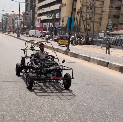 Man Seen Driving A Self-made Car On The Streets Of Lagos (Photos)