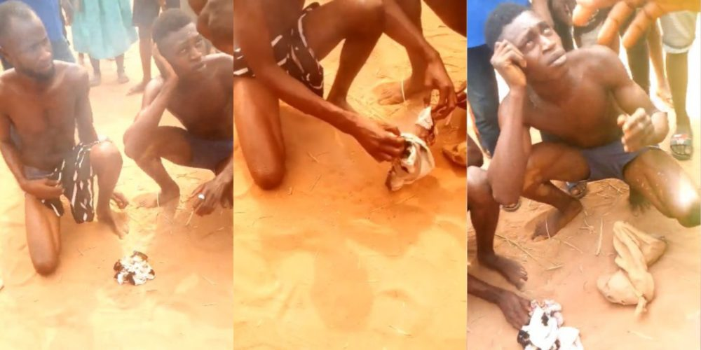 Two young men disgraced in Benin after they were caught with stolen women panties (Video)
