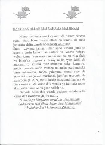 Boko Haram Drops Leaflets All Over Kano After Bombings (Translated)