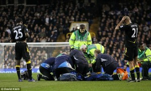 Bolton player Fabrice Muamba collapses on pitch during FA Cup match
