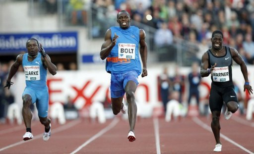 New start blocks too small for my feet, Usain Bolt says …after running 100m in 9.79 sec